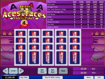 Play 4 Line Aces and Faces Videopoker at Casino.com Canada