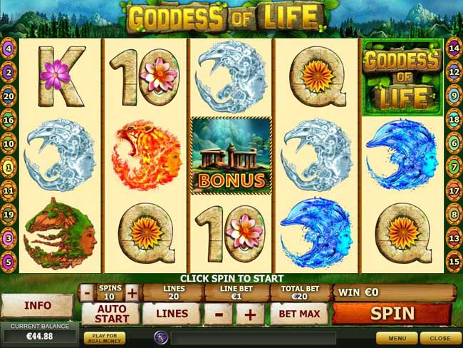 goddess of life video slots